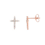 Rose Gold Cross Earrings