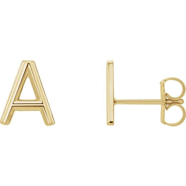 14k Gold Initial Earrings