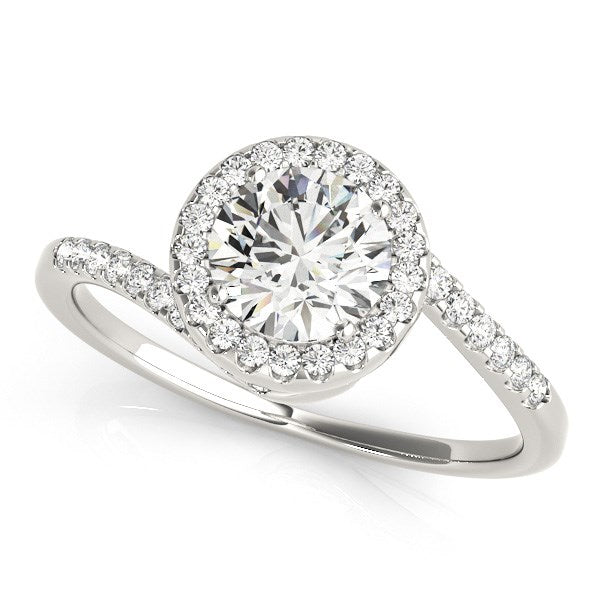 Halo Bypass Round Diamond Engagement Ring