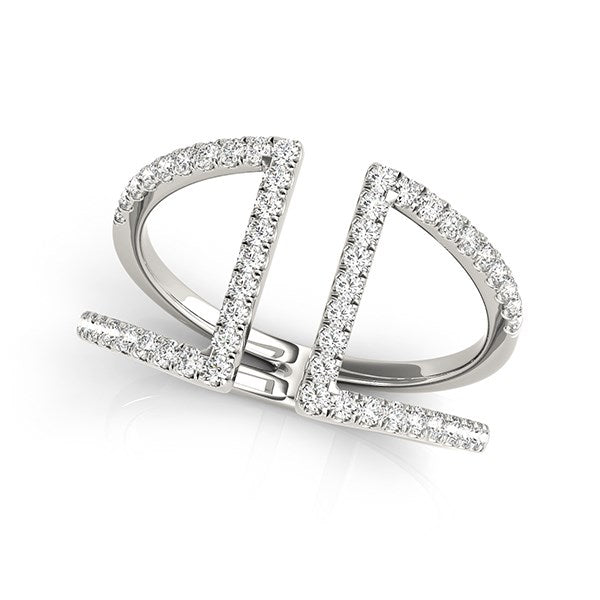 14k White Gold Open Style Dual Band Ring with Diamonds