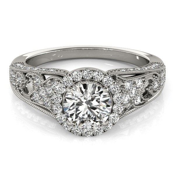 14k White Gold Diamond Engagement Ring with Baroque Shank Design