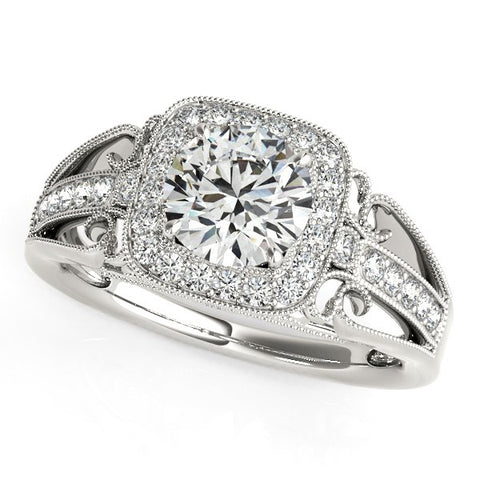 14k White Gold Baroque Shank Style Cut Diamond Engagement Ring