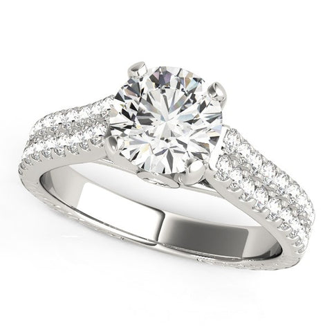 14k White Gold Round Diamond Engagement Ring with Pave Band