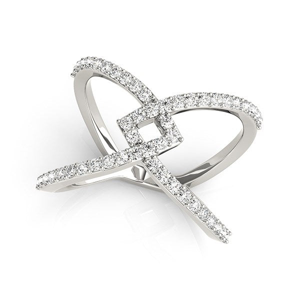 14k White Gold Fancy Entwined Design Diamond Ring