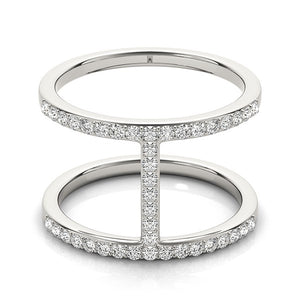 14k White Gold Dual Band Bridge Style Diamond Ring