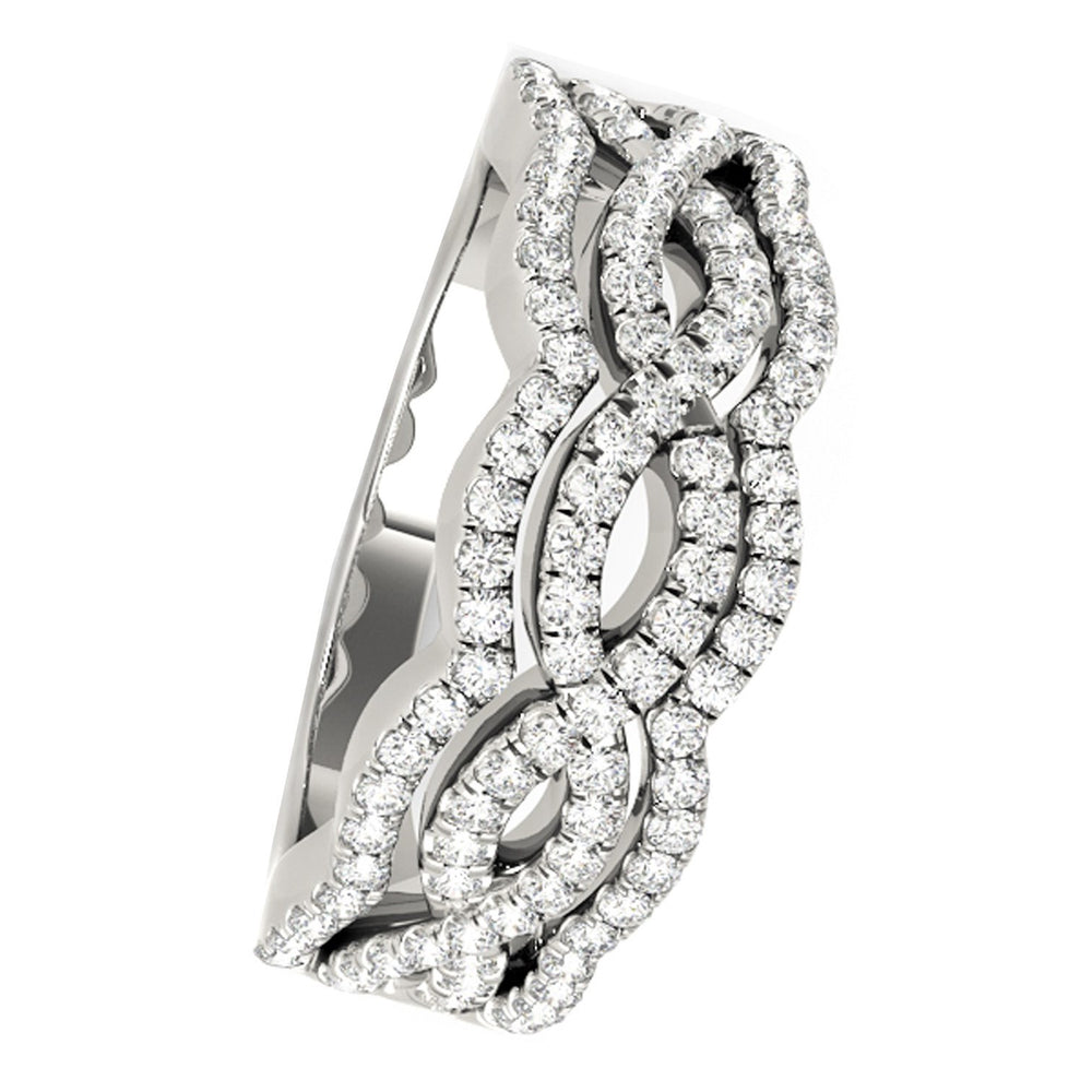 Diamond Studded Ring with Four Curves in 14k White Gold