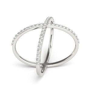 14k White Gold X Style Thin Ring with Diamonds