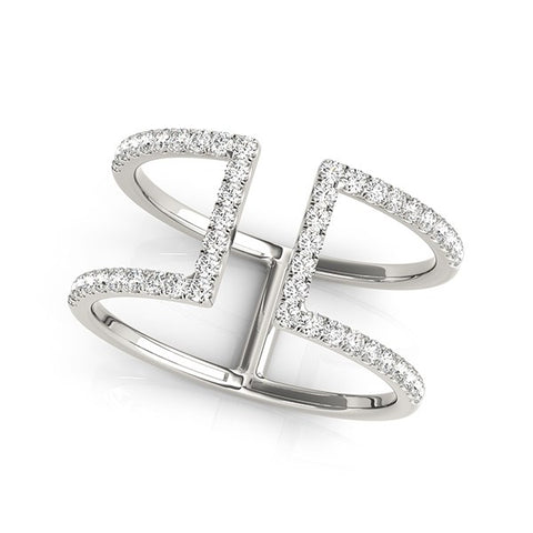 14k White Gold Modern Dual Band Style Diamond Ring