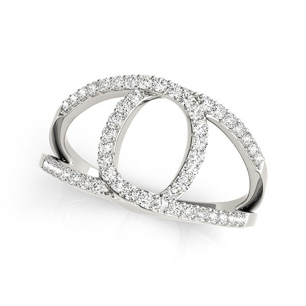 14k White Gold Diamond Loop Style Dual Band Ring