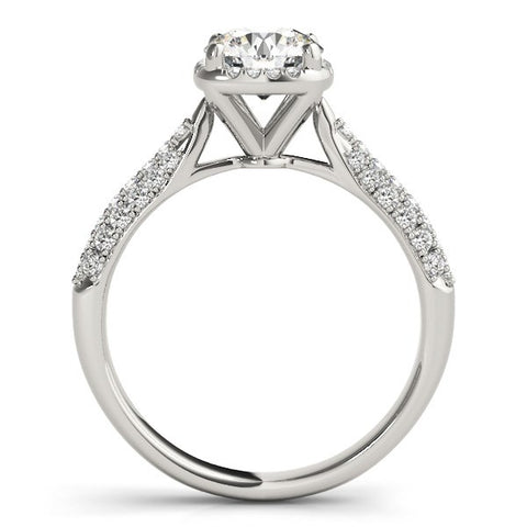 14k White Gold Halo Graduated Pave Shank Diamond Engagement Ring