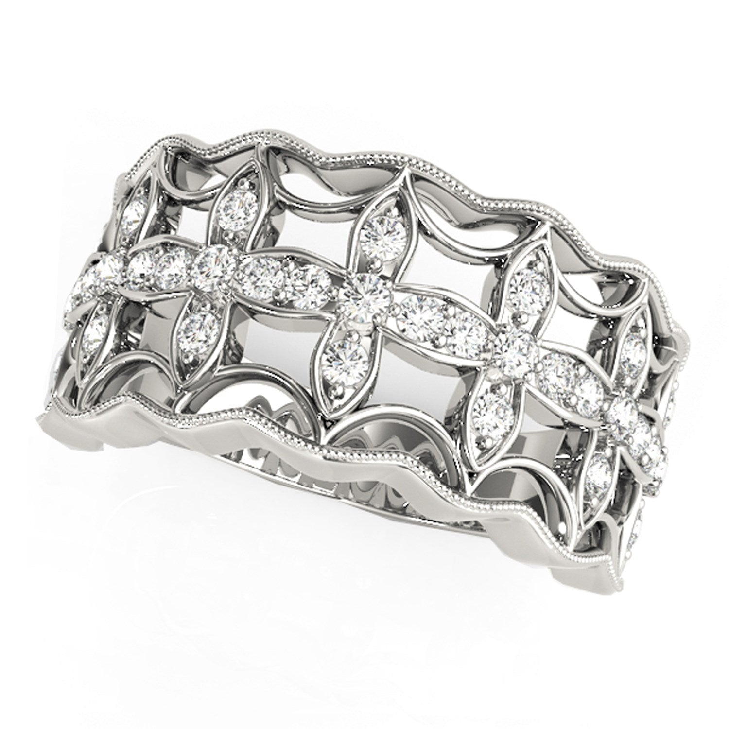 Diamond Studded Four Leaf Clover Motif Ring in 14k White Gold