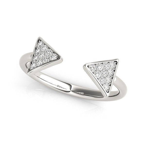 14k White Gold Diamond Arrowhead Open Ring
