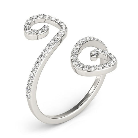 14k White Gold Diamond Open Flourish Style Ring