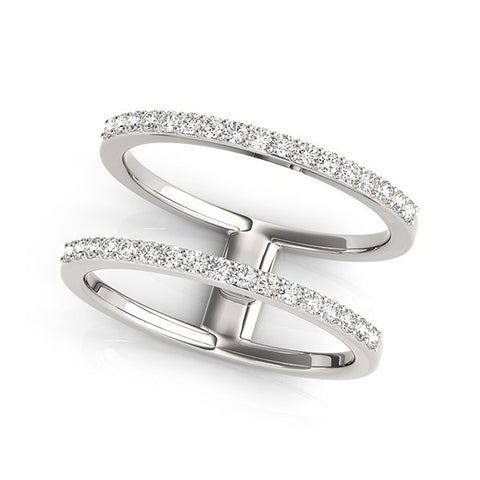 14k White Gold Dual Band Design Ring with Diamonds