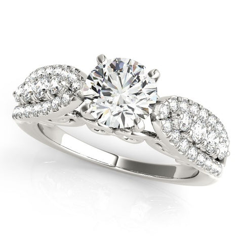 14k White Gold Multirow Shank Round Diamond Engagement Ring