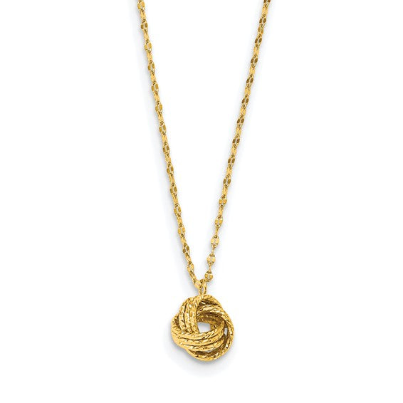 14k Diamond Cut Love Knot Necklace