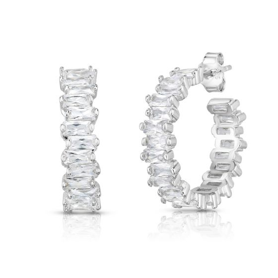 Diamante Baguette Hoop Earrings