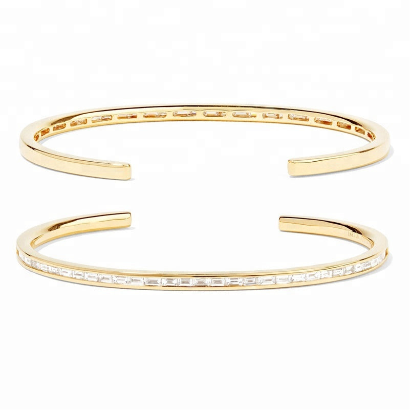 Baguette Diamond Cuff Bangle Bracelet
