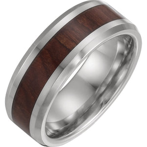 Cobalt Beveled Edge Comfort-Fit Band with Wood Inlay