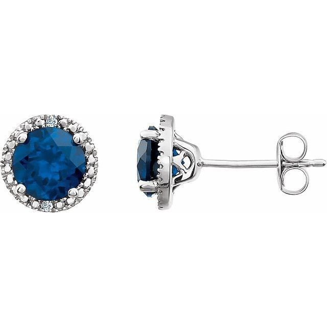 Blue Sapphire & .01 CTW Diamond Earrings