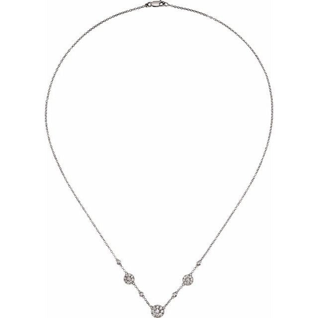 14K White Gold Diamond Cluster Station Necklace