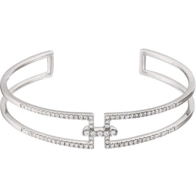 14k White Gold Diamond Cuff