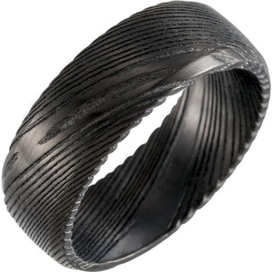 Black Damascus Steel Patterned Band
