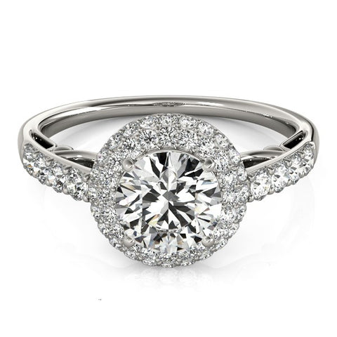 Halo Style Diamond Engagement Pave Shank Ring