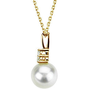 14K Yellow Freshwater Cultured Pearl & .06 CTW Diamond Necklace
