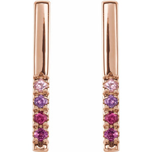Multi-Gemstone French Bar Earrings