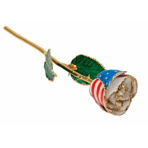 Patriotic Rose With Gold Trim