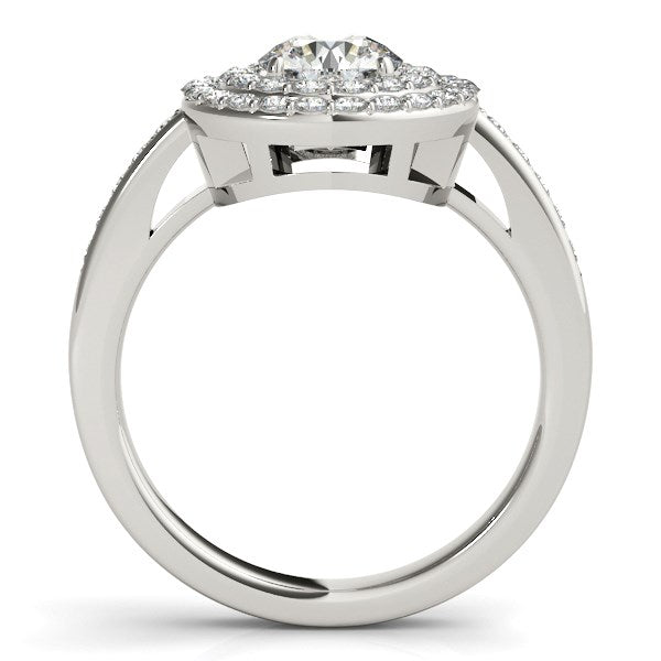 Round with Two-Row Halo Diamond Engagement Ring