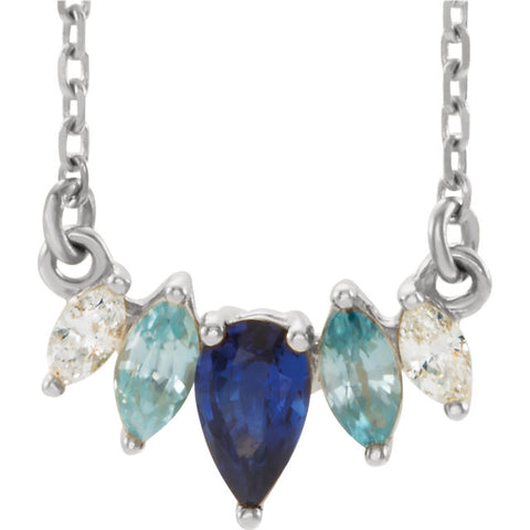Blue Sapphire and Diamond Necklace