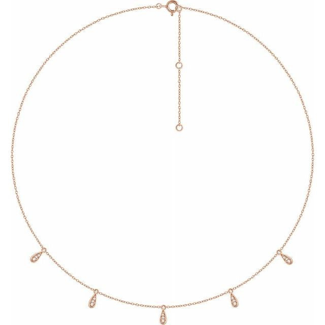 14K Gold Diamond 5-Station Necklace