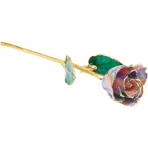 Lacquered October Opal Colored Rose with Gold Trim