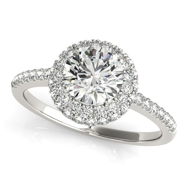 Classic Round Diamond Pave Engagement Ring