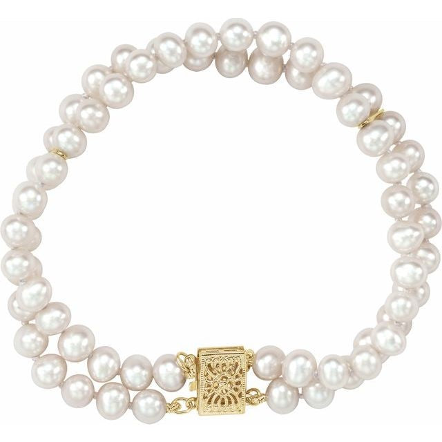 14K Yellow Freshwater Cultured Pearl Double Strand Bracelet