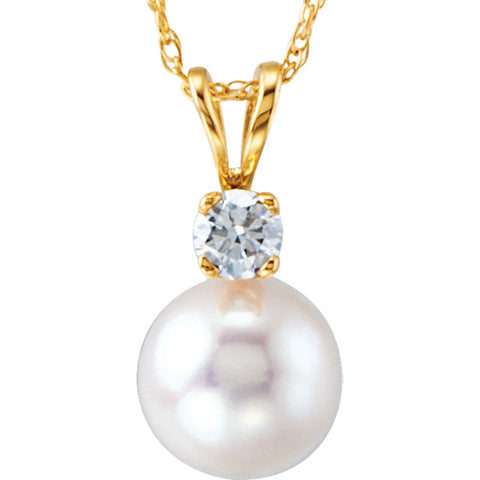 14K Yellow Akoya Cultured Pearl & 1/10 CTW Diamond Necklace