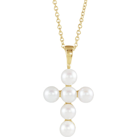 14K Gold Freshwater Cultured Pearl Cross Necklace