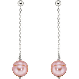 Freshwater Cultured Pink Pearl Chain Earrings