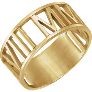 Pierced Roman Numeral Date Ring