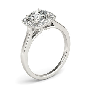 Square Halo Diamond Engagement Ring