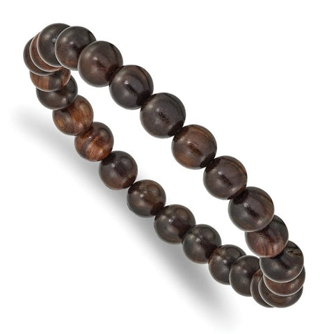 Red Sandalwood Bead Stretch Bracelet