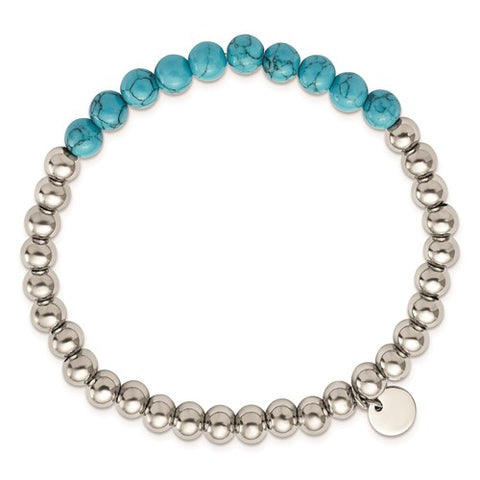 Stainless Steel Turquoise Beaded Stretch Bracelet