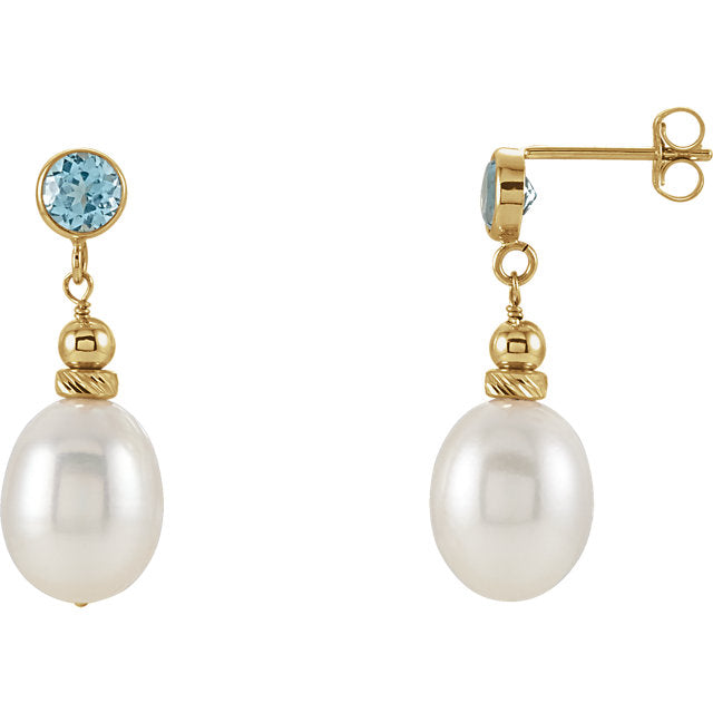 14K Yellow Freshwater Pearl & Swiss Blue Topaz Earrings