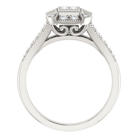 Vintage Halo-Style Illusion Ring