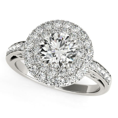 Two-Row Pave Border Engagement Ring