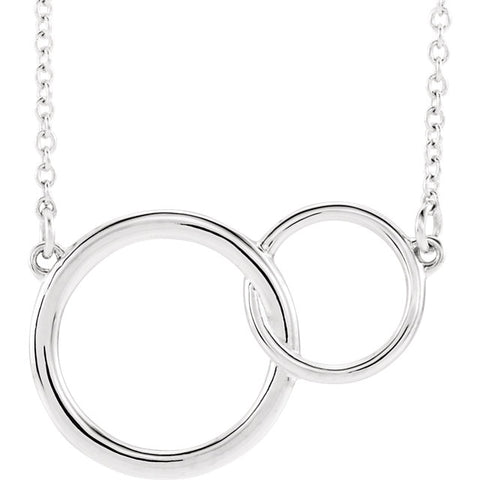 Gold Interlocking Double Circle Necklace