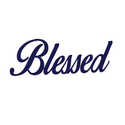 "Blessed Navy Vinyl (3.5x10"") Bling Shirt - Bling By Bates"