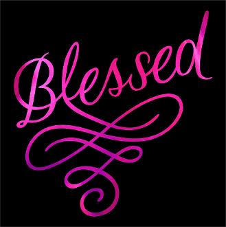 "Blessed Swirl (9.75x9.75"") Hot Pink Soft Metallic Vinyl Bling Shirt - Bling By Bates"